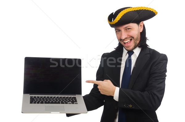 Pirate businessman holding laptop isolated on white Stock photo © Elnur