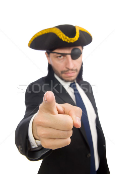 Stock photo: Pirate businessman wearing tricorn isolated on white