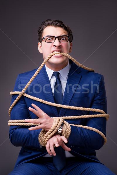 Zakenman omhoog touw business werknemer keten Stockfoto © Elnur