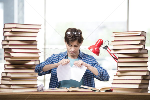 若い男 学生 大学 試験 図書 学校 ストックフォト © Elnur
