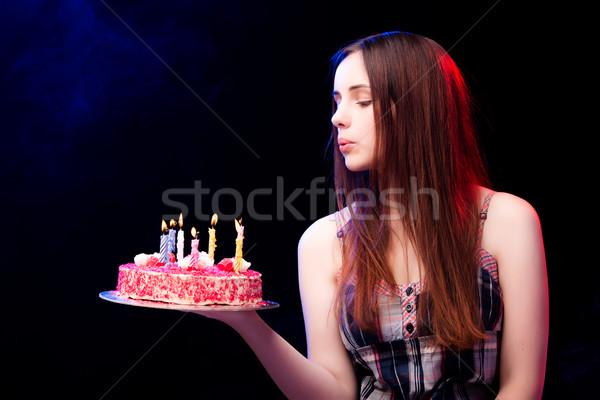 Fiatal nő születésnapi torta buli étel születésnap szépség Stock fotó © Elnur