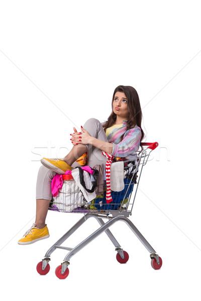 Nő vásárol második kéz ruházat fehér Stock fotó © Elnur