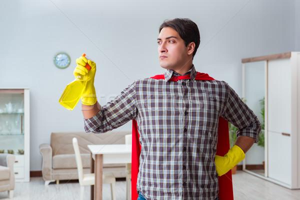 スーパーヒーロー クリーナー 作業 ホーム 水 作業 ストックフォト © Elnur