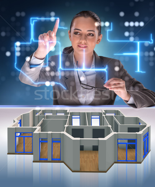 дизайнера рабочих 3D футуристический квартиру дизайна Сток-фото © Elnur