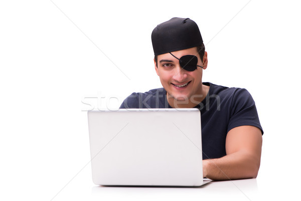 Stock photo: Digital security concept with pirate isolated on white