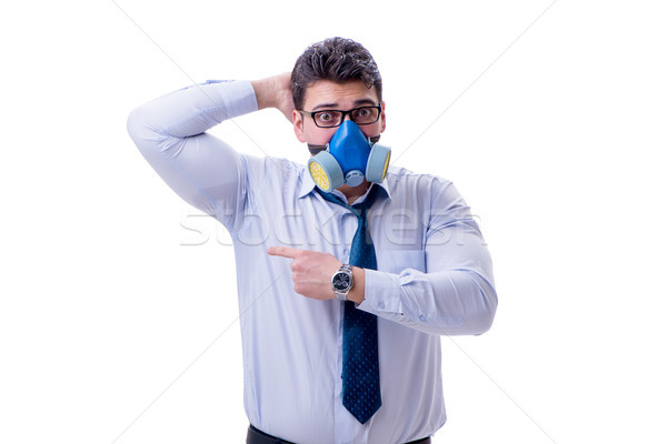 Stock photo: Businessman sweating excessively smelling bad isolated on white