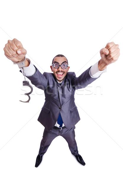 Komik işadamı kelepçe beyaz iş hukuk Stok fotoğraf © Elnur