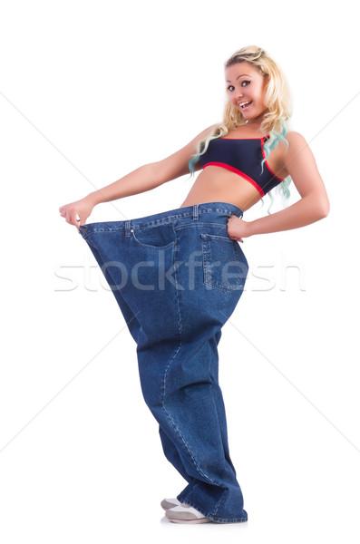 женщину диеты большой джинсов девушки счастливым Сток-фото © Elnur