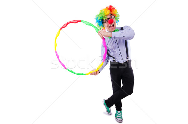 Funny clown with hula hoop on white Stock photo © Elnur
