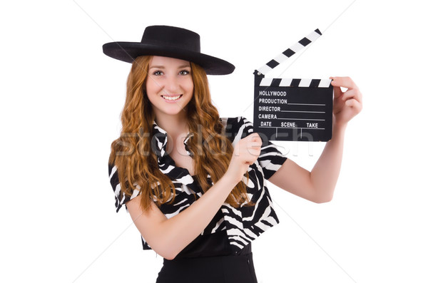 Young woman with movie clapboard isolated on white Stock photo © Elnur