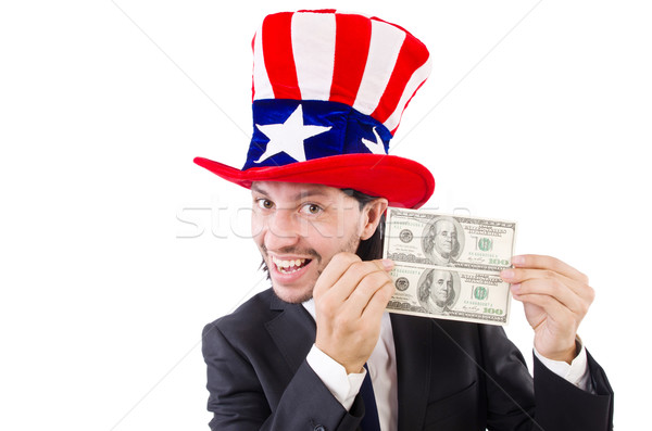 Uomo americano dollaro Hat business sorriso Foto d'archivio © Elnur