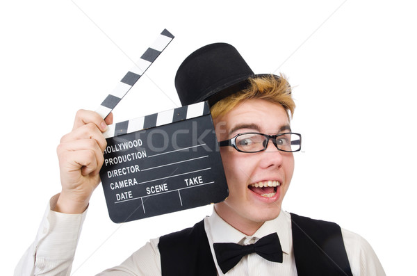 Funny man with movie clapper clapboard Stock photo © Elnur