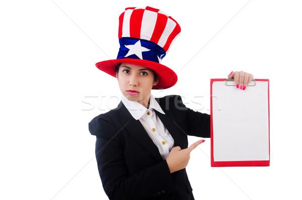 женщину американский Hat пустая страница белый счастливым Сток-фото © Elnur
