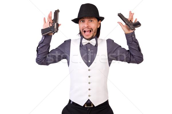 Férfi fegyver izolált fehér férfi fehér üzlet Stock fotó © Elnur