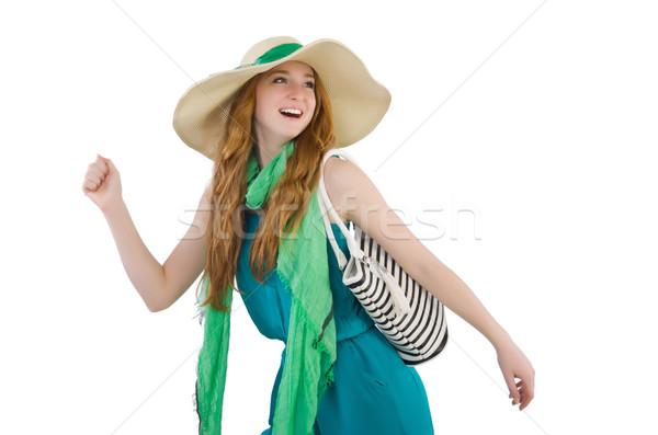 Vrouw zak mode meisje gelukkig model Stockfoto © Elnur