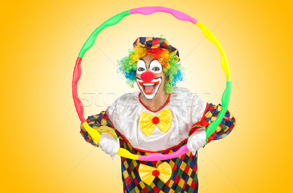 Clown hoelahoep geïsoleerd witte glimlach gezicht Stockfoto © Elnur