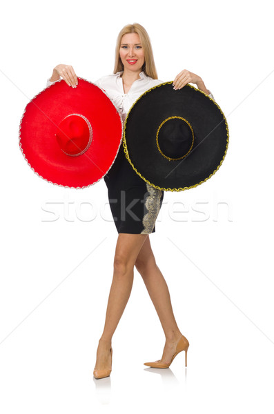 Woman wearing sombrero isolated on white Stock photo © Elnur