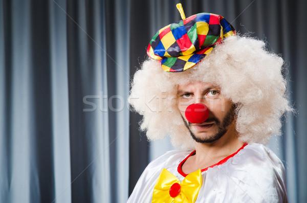 Funny Clown witzig Vorhang Lächeln traurig Stock foto © Elnur