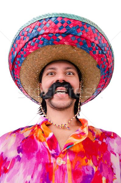 Komik Meksika geniş kenarlı şapka şapka adam mutluluk Stok fotoğraf © Elnur