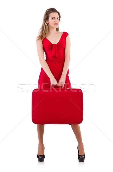 Mulher vestido vermelho viajar caso isolado branco Foto stock © Elnur