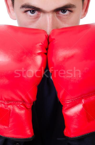 Fiatal üzletember boxoló izolált fehér üzlet Stock fotó © Elnur