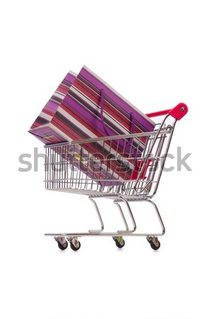 Woman shoes in shopping cart on white Stock photo © Elnur