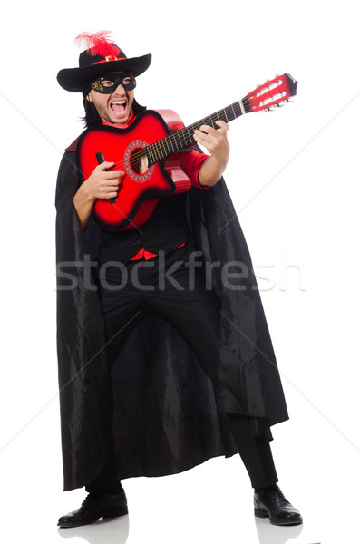 Young man in carnival coat  with guitar isolated on white Stock photo © Elnur