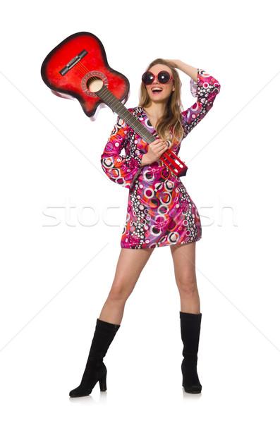 Nő gitáros izolált fehér buli fém Stock fotó © Elnur