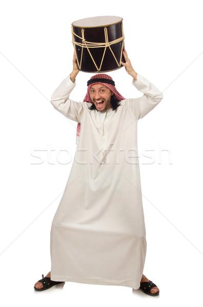 アラブ 男 演奏 ドラム 孤立した 白 ストックフォト © Elnur