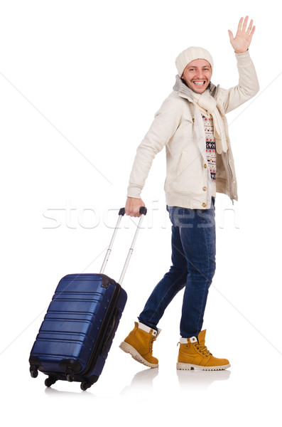Tourist holding suitcase isolated on white Stock photo © Elnur