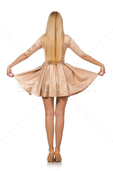 Bella ragazza satinato mini abito isolato Foto d'archivio © Elnur