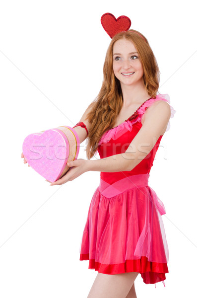 Pretty young model in mini pink dress holding gift box isolated on white Stock photo © Elnur