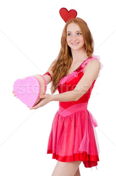 Joli jeunes modèle mini rose robe Photo stock © Elnur