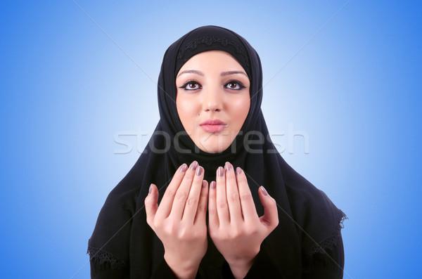 Muslim young woman wearing hijab on white Stock photo © Elnur