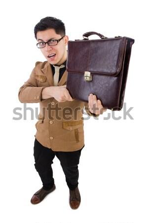Jonge werknemer aktetas geïsoleerd witte model Stockfoto © Elnur