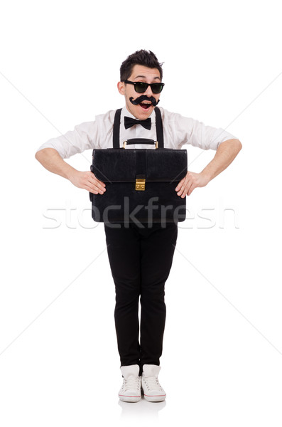 Young man with briefcase isolated on white Stock photo © Elnur