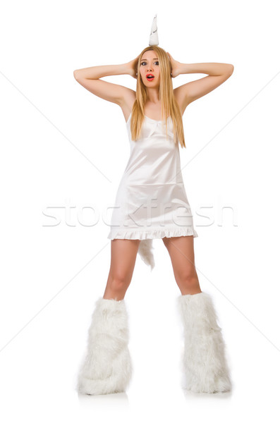 Stock photo: Blond hair woman in masquerade costume isolated on white