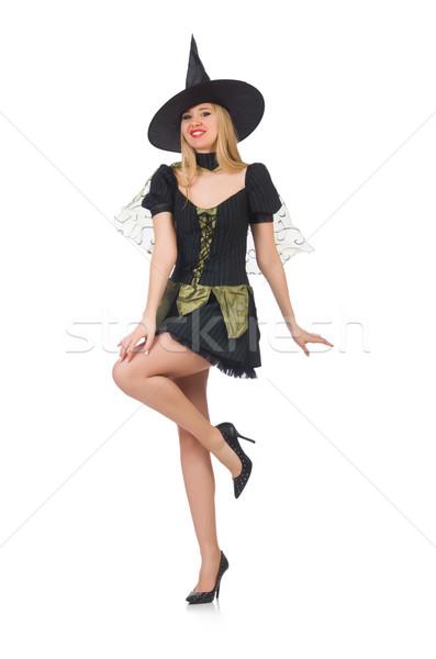 красивой ведьмой черное платье изолированный белый зеленый Сток-фото © Elnur