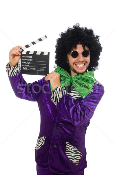 Funny man in wig with clapper board isolated on white Stock photo © Elnur
