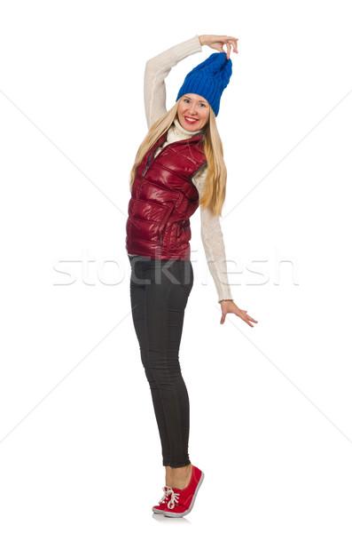 Stockfoto: Blond · haren · meisje · vest · geïsoleerd · witte