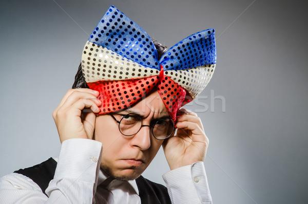 Funny man with giant bow tie Stock photo © Elnur