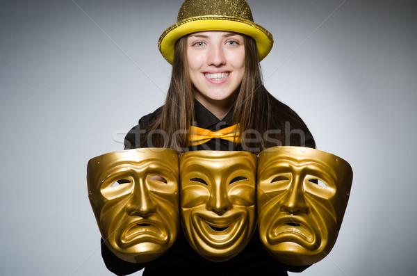 ストックフォト: 女性 · マスク · 面白い · 顔 · ワーカー · 顔