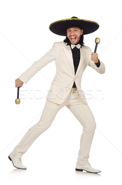 Funny mexican in suit holding maracas isolated on white Stock photo © Elnur