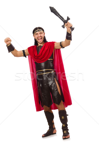 Gladiador posando espada isolado branco homem Foto stock © Elnur