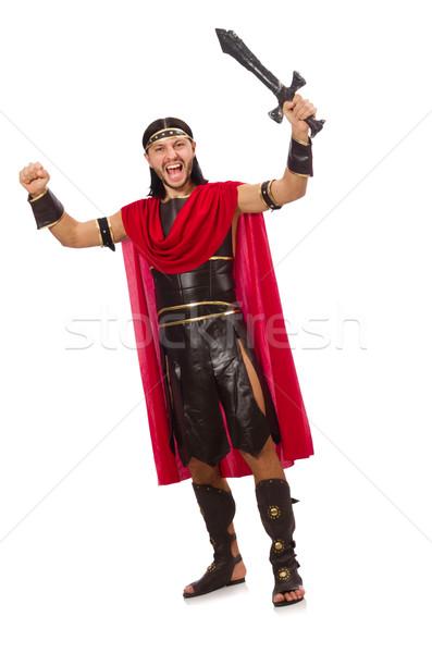 Gladiator posing with sword isolated on white Stock photo © Elnur