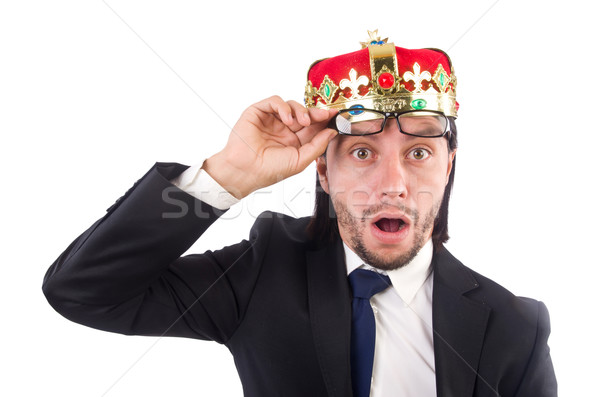 King businessman in funny concept isolated on white Stock photo © Elnur