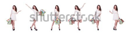 Set of photos with woman and hula hoop Stock photo © Elnur