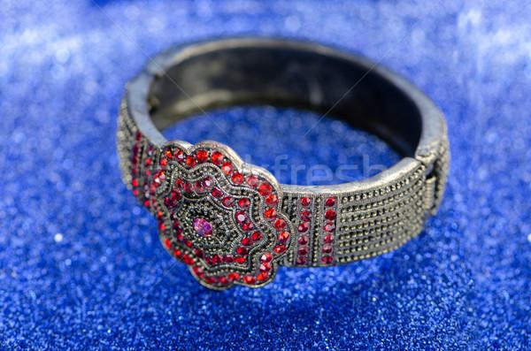 Sieraden ring Blauw achtergrond keten diamant Stockfoto © Elnur