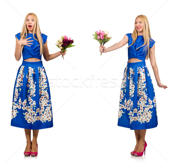 Composite photo of woman with tulips on white Stock photo © Elnur