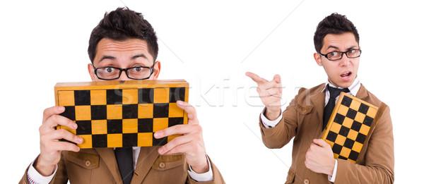 Divertente scacchi giocatore isolato bianco successo Foto d'archivio © Elnur